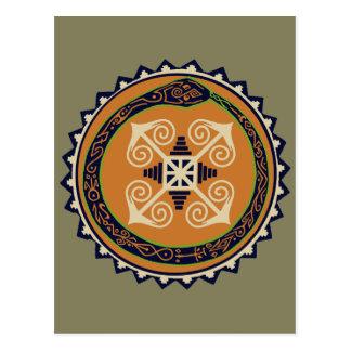Devine Fire Wheel with Ouroboros Snake VooDoo Postcard