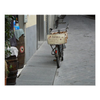 DeVino delivery bicycle, Fiesole, Italy Poster