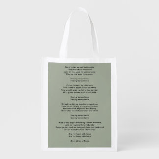 Devi's poem from Order of Seven Reusable Grocery Bag