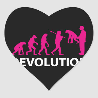 Devolution Evolution Funny Reissue Heart Sticker