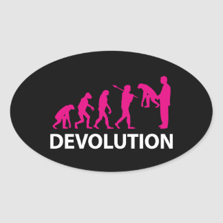 Devolution Evolution Funny Reissue Oval Sticker