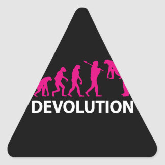 Devolution Evolution Funny Reissue Triangle Sticker