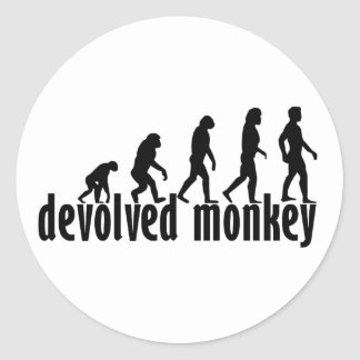 devolved monkey classic round sticker
