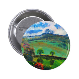 Devon England Countryside Landscape Painting Pinback Button