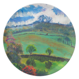 Devon England Countryside Landscape Painting Plate