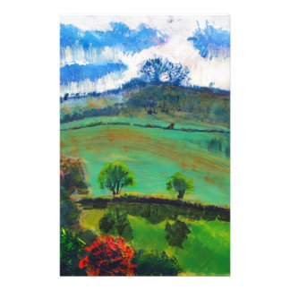Devon England Countryside Landscape Painting Stationery