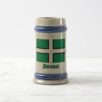 Devon Flag with Name Beer Stein