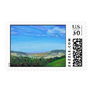 Devon landscape painting postage stamps