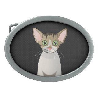 Devon Rex Cat Cartoon Paws Belt Buckle
