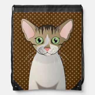 Devon Rex Cat Cartoon Paws Drawstring Backpack
