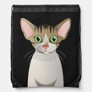 Devon Rex Cat Cartoon Paws Cinch Bags