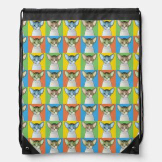 Devon Rex Cat Cartoon Pop-Art Drawstring Bag