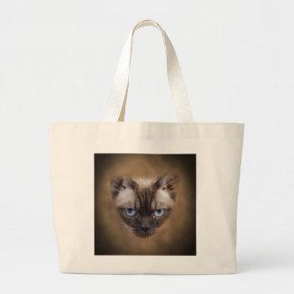 Devon Rex cat face Canvas Bags