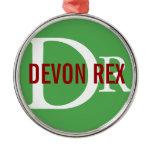 Devon Rex Cat Monogram Design Metal Ornament