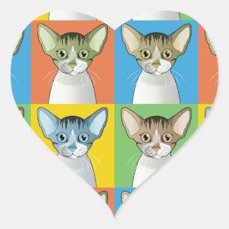 Devon Rex Cat Pop-Art Heart Sticker