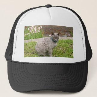 Devon Rex pet cat in garden Trucker Hat