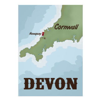Devon vintage travel poster