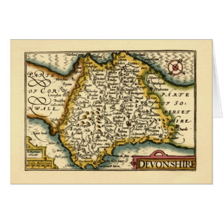 """Devonshire"" Devon County Map, England Card"