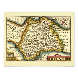 """Devonshire"" Devon County Map, England Card"