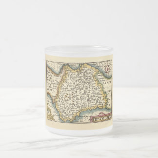 """Devonshire"" Devon County Map, England Frosted Glass Coffee Mug"