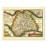 """""""Devonshire"""" Devon County Map, England 4.25x5.5 Paper Invitation Card"""