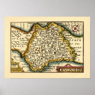 """Devonshire"" Devon County Map, England Print"
