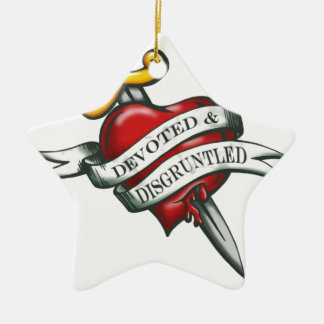 Devoted and disgruntled ceramic ornament