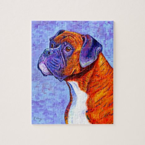 Devoted Guardian Colorful Brindle Boxer Dog Puzzle