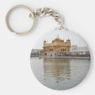Devotees and Golden Temple in Amritsar Basic Round Button Keychain