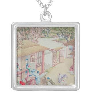 Devotion Scene Silver Plated Necklace
