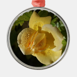 Dew Drop Yellow Rose Christmas Ornaments
