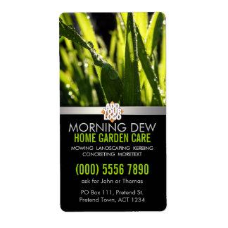 Dew Drops Grass Garden Nature w/ Logo Business Label