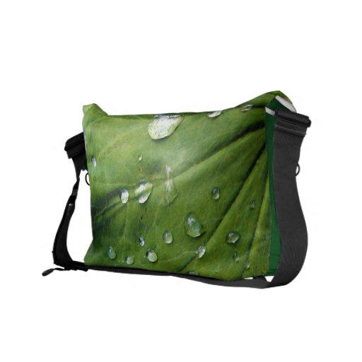 Dew Drops On A Leaf Messenger Bag