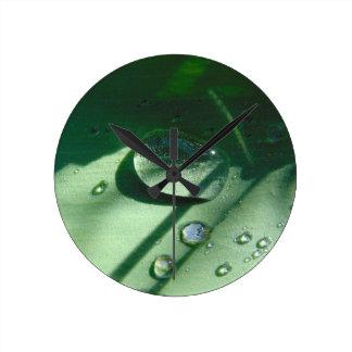Dew Drops On A Tulip Leaf Round Clock