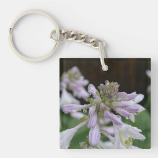 Dew Drops on Hosta Single-Sided Square Acrylic Keychain