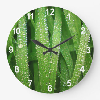 Dew drops on leaves large clock
