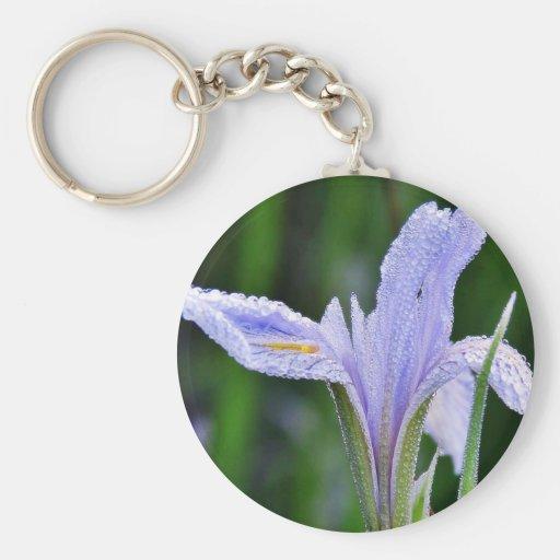 Dew Flowers 4 Basic Round Button Keychain