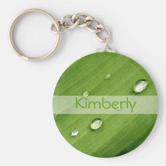 Dew Green Leaf Nature Name Custom Keychain