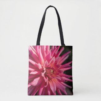 Dew kissed pink dahlia tote