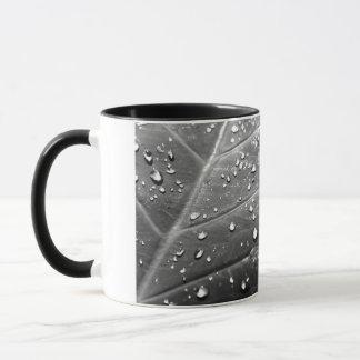 Dew on Leaf Black & White Design Mug