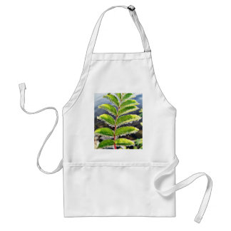Dew On Rowen Green Leaves Adult Apron