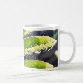 Dew On Rowen Green Leaves Classic White Coffee Mug