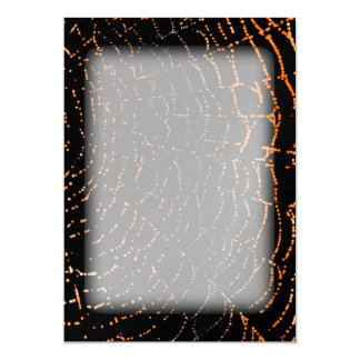 Dew On Shiny Web Orange On Black Background Design Card