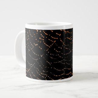 Dew On Shiny Web Orange On Black Background Design Large Coffee Mug