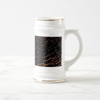 Dew On Shiny Web Orange On Black Background Design 18 Oz Beer Stein