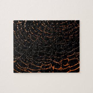 Dew On Shiny Web Orange On Black Background Design Puzzles