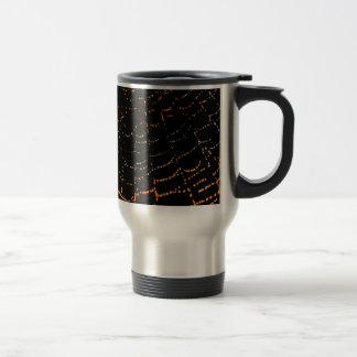 Dew On Shiny Web Orange On Black Background Design Travel Mug