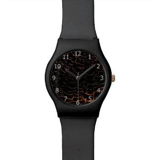 Dew On Shiny Web Orange On Black Background Design Wristwatch