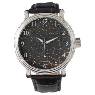 Dew On Shiny Web Orange On Black Background Design Wristwatches