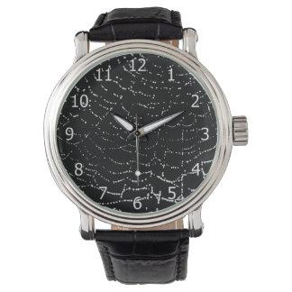 Dew On Shiny Web Silver On Black Background Design Wristwatch